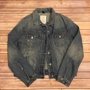 Distressed J. Crew Factory Jean Jacket, Size M